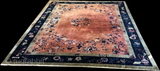 "An Attractive 9' x 11'-8"" Art Deco Chinese Rug Circa 1920. It is in good condition."