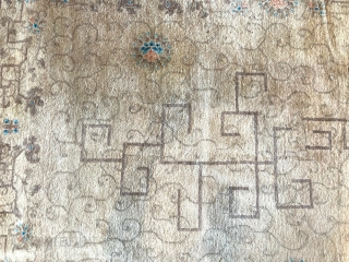Nice unusual colors Deco Chinese with geometric patterns. Measures 9' x 12'.
