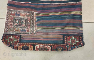 Authentic Bakhtiary khorjin in excellent condition. Vibrant natural colours and intricate embroidered motifs featured this gorgeous khorjin and turned this Bakhtiary as a masterpiece artecraft. Dimensions 155 * 120 cm. Circa 1880-1890 collector's choice