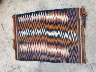 An eye-catching bakhtiary soffreh ,zigzag design , aged almost hundred years old