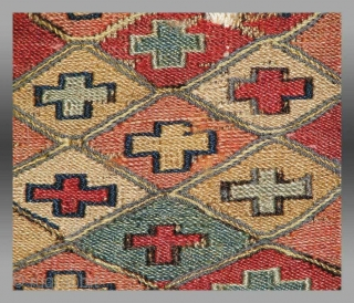 Here is a very old and beautiful small Shahsavan soumak bagface, roughly 28x28cm  There is obvious damage but the almost pastel colours are sublime and have mellowed beautifully.  Note the bleached white cotton (wool?)  ...