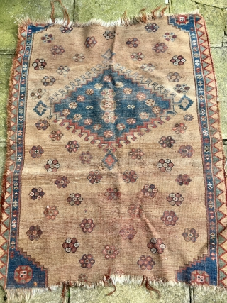 Attractive unique SW Persian Tribal Rug  nearly all made with camel hair  105 cm by 88 cm 
