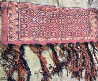 Tekke Salt Bag  wool cotton silk C19th   120 cm by 40 cm plus long tassels  Pay PayPal or BACS transfer   postage included   for UK only  ...