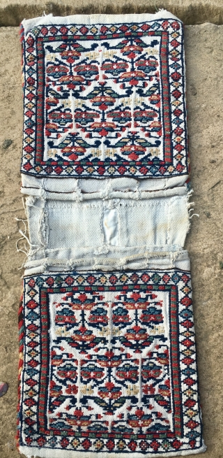 NWPersian ? Rare Bag complete 31cm *55cm   good wool soumack stitch on woven cotton base. Fair good condition beautiful colours circa  1900 all natural dyes