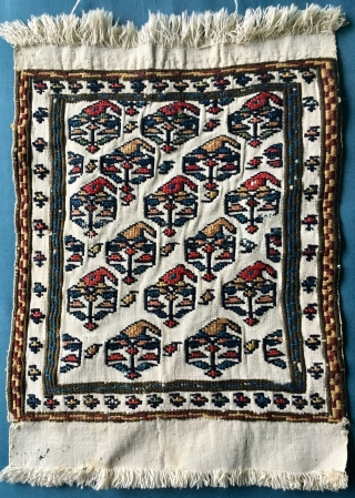 NWPersian ? Bag Face 36cm *26 cm   wool soumack stitch on woven cotton base. Fine condition beautiful colours circa 1900