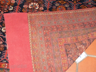 REF 1439 Antique Afshar rug of venerable age and fine quality. 6'11 x 5'9 - 210 x 174 Full pile of excellent soft wool.  Elaborate kelim ends have been conserved.