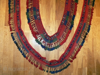 Naturally dyed fringes from Uzbekistan.  The longer divided and re joined.