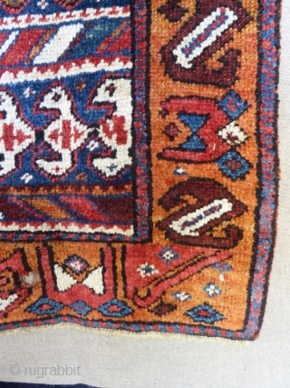 Antique Kurdish rug. Circa 1850 with wonderful natural dyes and unusual design.  Some holes but good glossy pile mounted on cloth. 6'0 x 2'11 - 183 x 89.