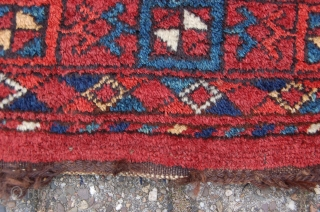 """antique middle Amu Darya tribal Ersari Turkoman chuval 171 x 96 cm (5ft 8"""" x 3ft 2"""") mid 19th century. All natural dyes. Condition: good, evenly medium to low pile with minor  ..."""