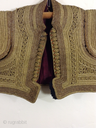 Rare Turkish vest with gold covered thread which is sewn on to the fabric.  This vest is in perfect condition.  It is covered in the elegant designs and I am  ...