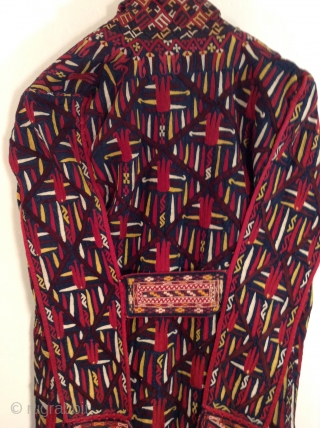 This is a Turkmen Chirpy worn by young unmarried women.  It was worn over over the head and on top of an elaborate hat. It is all silk and in excellent  ...