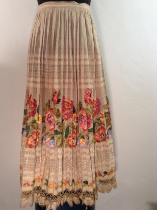 This traditional costume is from Posavina, Croatia.  It is embroidered with silk thread on cotton fabric.  I am guessing that it was made in the early to middle of the  ...