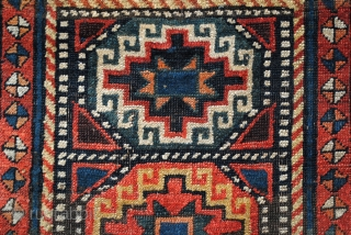 Antique Gendje or Moghan, Caucasus. 420 x 110 Cm. 14 ft.x 3.6 ft. Collectable rug, around 1850. Memling guls.  In fair condition. Wear acording to age.  Right corner has some wear, see Last  ...
