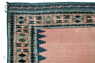 Sofreh, Belouch, early 20th century, knotted border and kilim field.  Krab ornament in the knotted border.  An eye in the middle of the field.  Original sides.  125 x 123 Cm. 50 x  ...