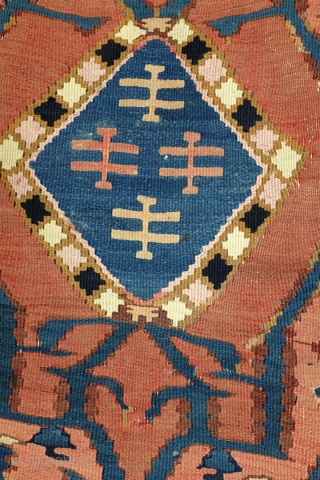 Kilim, early 20th century, Province Adzerbeijzan North West Iran, a simular one  depicted in the book of Preben Liebetrau, Oosterse Tapijten in kleur. The book comes with the kilim.   Silk  ...