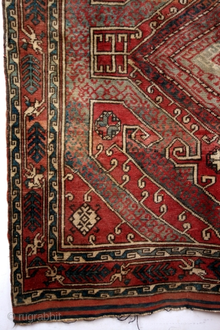 Bergama early 20th century. 170 x 150 Cm.  'Kashim' Kazak. Traces of the 17th and 18th century dragon carpets in the design. Koerdish nomads from the Karabach setteled in West Anatolia.  Kilim  ...