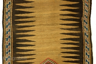 Large Sofreh, kilim with soumack embroidery, 210 x 82 Cm.  Natural undyed Camel wool.  Mazanderan province, North Iran.   In the right side border some damages seen last photo's for close-by.  I offer  ...