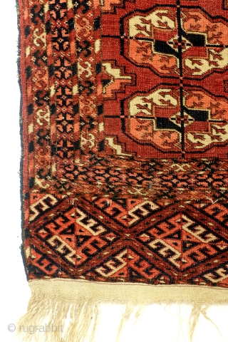 Ersari Tekke, antique, from a German private collector, used as a wall hanging. see detail photo's. Fine knotting - 49 knots per Cm. Naural colors. size: 140 x 100 Cm. 