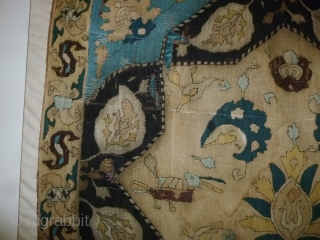 "Caucasian silk embroidery, 17/18th century, 87 x 88 cm., 34"" x 34"". Acquired in 1975 and since then part of a private Dutch collection. There are some restored brown/black areas here and  ..."