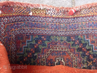 "Afshar Bag with salor gul, 48  x 56 cm., 19"" x 22"", in full pile. Two shells attached. Knotted on warps of mixed goat hair and cotton strands. Natural dyes and  ..."