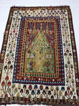 """Bayburt kelim, 4'9"""" x 6'4"""" / 142cm x 190cm. Rough and tattered in areas. Old and charming."""