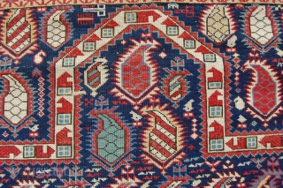 """Shirvan, 'Marasali' prayer rug, 3'8""""x4'9"""",  or  110x143 cm     Decent condition with some localized wear in the field. Original ends with kelim, sides cut and missing 1-2 knot  ..."""