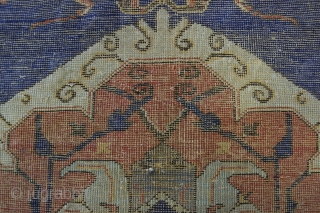 """4'4"""" x 5'6"""" Tuduc rendition of an Usak, Romania. Well documented by Stefano Ionescu in his excellent monographs, the work of rug forger Teodor Tuduc is easily recognized. Acquired from an old  ..."""