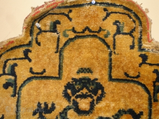 #4546 Antique Ningxia Chinese Chairback  This circa 1850 Ningxia Chairback measures 2'2″ x 2'5″. Buyer pays the shipping with insurance of $25. https://antiqueorientalrugs.com/product/4546-antique-ningxia-chinese-chairback/