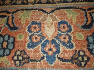 """This Antique Khorassan Persian Oriental Carpet measures 10'1"""" X 17'3"""". It has a large lobed pulled medallion with a sky blue center surrounded by peach, filled with meandering vines and flowers and  ..."""