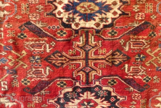 Kuba rug, 7 ft x 4.5ft. (216 x 134 cm.) Around 1900. The design with an interesting version of the Gollu Chichi pattern, that shows affinity with both Seichur and Perepedil Kuba  ...