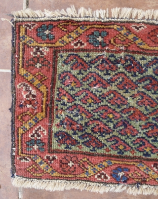Antique NW Persian Mafrash, Probably Kurdish.  82 x 32 cm. Late 19 th. century. Unusual turquoise background with an allover boteh design. A few areas of wear and repair, reselvedged side  ...