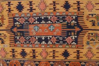 Gaziantep area kilim, Southeast Anatolia, 145 x 210 cm. Pale apricot ground with soft-hued blues, green, madder-red and mauve.