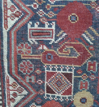 Qashqai Rug 3.4 ft. x 5.1ft. (104 x 156 cm) late 19 th. century Twin medallion type with poppy flowers and other floral motifs. tight weave. Fabulous colours: cherry red, mustard yellow,  ...