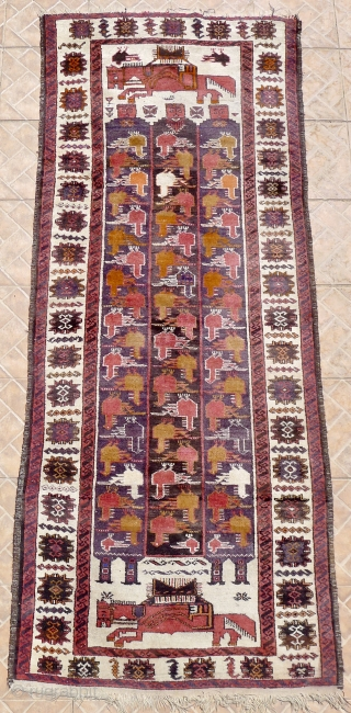 """Vintage pictorial Seistan/Zabul Baluch rug """"Horses and Herdsmen"""" 100 x 248 cm (3.3ft x8.1ft.) 1930 /40 Unusual rug with folklore charm. $210 USD plus 50 for worldwide postal delivery"""