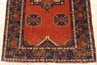 Ushak rug with archaic Para Mamluk design, 128 x 190 (4.2ft. x 6.2ft) Ushak 17 th. century. Very fine weave with Velvety texture. Signed at the top by the master weaver. Probably  ...
