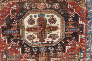 Classic Kuba Konagkend rug, 114 x 172 cm, 19 th. century. Unusual a-symetrical composition $800 plus 80 p&p
