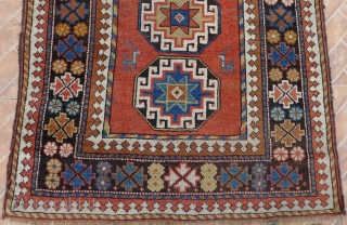 A NW Persian Kelardasht Rug, 3.5x 6.9ft. (108x210 cm.) Circa 1910.  Woven by a small community of Karabagh Kurds who settled in the Manzanderan province around 1900. The design with Moghan  ...