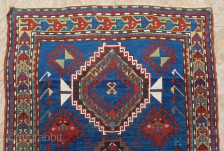 Kazak Rug, possibly Shulaver area. 218 x 145 cm. (7.15ft x 4.75ft) late 19 th. century. The design with typical hooked and crossed lozenges.  Attractive border with stylized bird in flight  ...