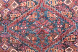 Afshar Rug, Sirjan region, 185 x 160 cm. (6ft x 5.25ft) early 20 th. century. All over lozenges-grid design. Good condition with some corrosion of the dark brown colour. Ref: Parviz Tanavoli, plate 24 $360  ...