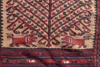 A Baluch flatwoven Balisht bagface,  ca. 1940- 1950 Tree of life design flanked by lions (Shir o Khorshid) motifs on a camel ground, natural dyed colours.