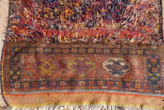 Bakhtiari Horse Cover, 175 x 105 cm. early 20 th. century. Woven  with different sections in  kilim, piled and soumak technique. Genuine nomadic weaving, used in bi-annual migrations across the Persian Zagros  ...