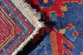 Zagly Kuba rug with an attractive variation of the Afshan pattern, 190 x 145 cm. circa 1930. Finely knotted with glossy, local mountain wool. In excellent  full-piled condition with one small repair. Original unwrapped  ...