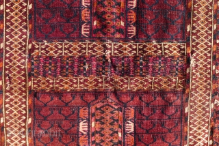 Tekke Ensi (Yurt entrance rug) 133 x 113 cm (4.4 x 3.7ft) 3rd. qrt 19 th. Century. Good colours with some nice saffron yellow, sparsely used in the elim side. In general good condition  ...
