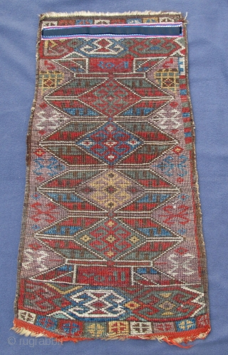 """Dated rare early western Anatolian Yastik, full pile with early natural colors,  original selvedges and remains of original kelim at both ends, 29"""" X 16""""[74 X 40cm]  See Morehouse # 37"""