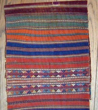 Complete Pair of finely woven N.Persian Pile Bags with corrosive green,excellent pile, extraordinary flat woven decorated kelim backs. 19th. century