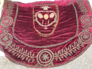 """Late 19th C. Metallic Embroidered Banner Red silk velvet with shield outline as center. Shield of """"20"""" W x 29"""" L formed with 2"""" gold metallic fringe. Crown at top of shield with  ..."""