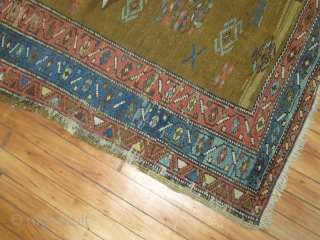 Antique Serab Size 4'4''x8'11''.  Scattered low areas.  Top end fully missing...  Bottom end partially missing.