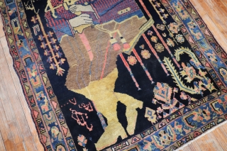 Antique Lilihan or inglesis pictorial rug.  Measure 4'6''x6'6''.  Rare large size for a pictorial rug.  I was told this was a famous Pilot.  Colonel Mohammad Taqi-Khan Pessian.   ...