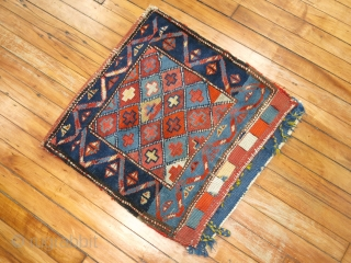 Yummy caucasian Bagface.  Gendje?  Shirvan?  Happy colors.  Size 1'9''x1'10''.  Complete condition.  Minor low areas.