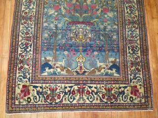 Antique Tehran Rug.  Decorative Pictorial.  4'7''x7'5''..  A bit low here and there..  Top end missing a bit.